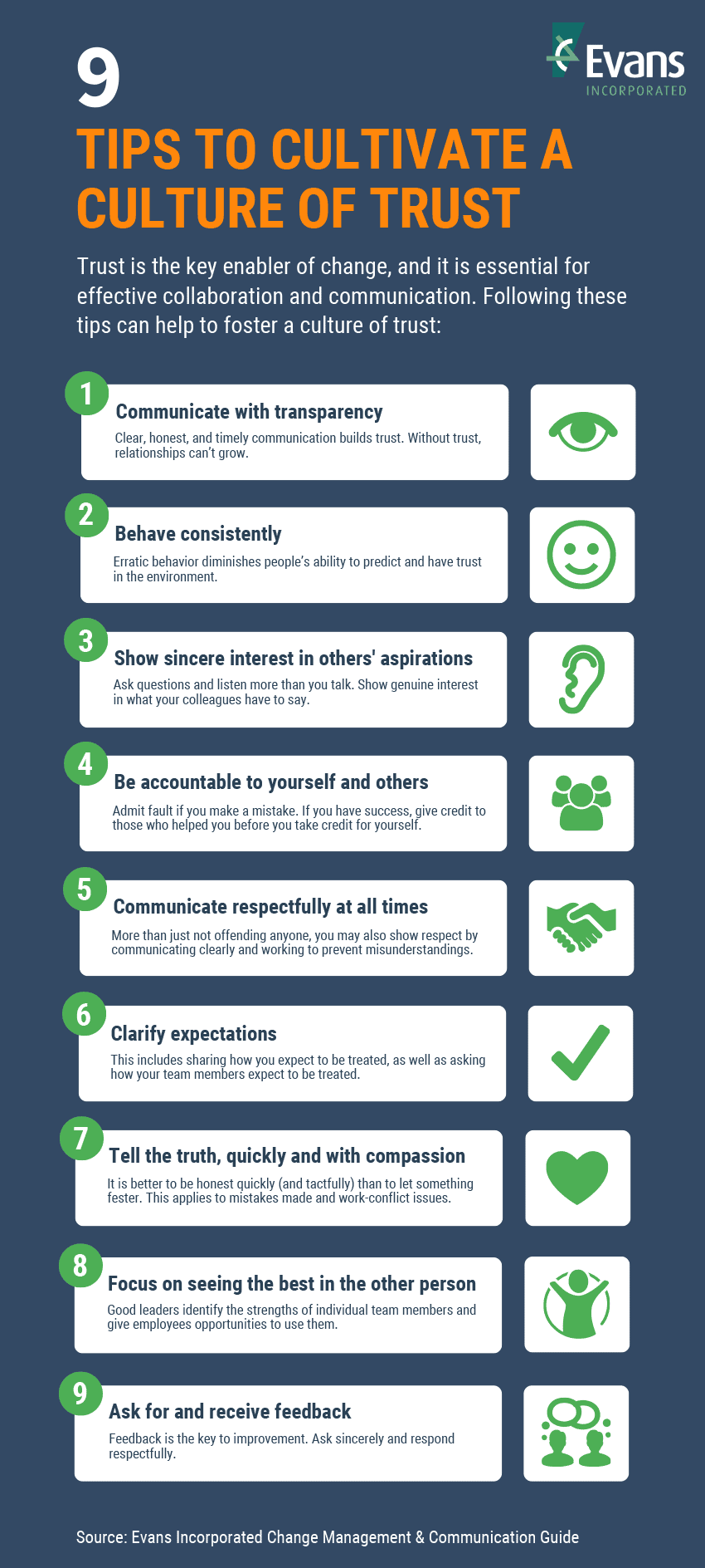 Infographic: 9 Tips to Cultivate a Culture of Trust by Evans Incorporated