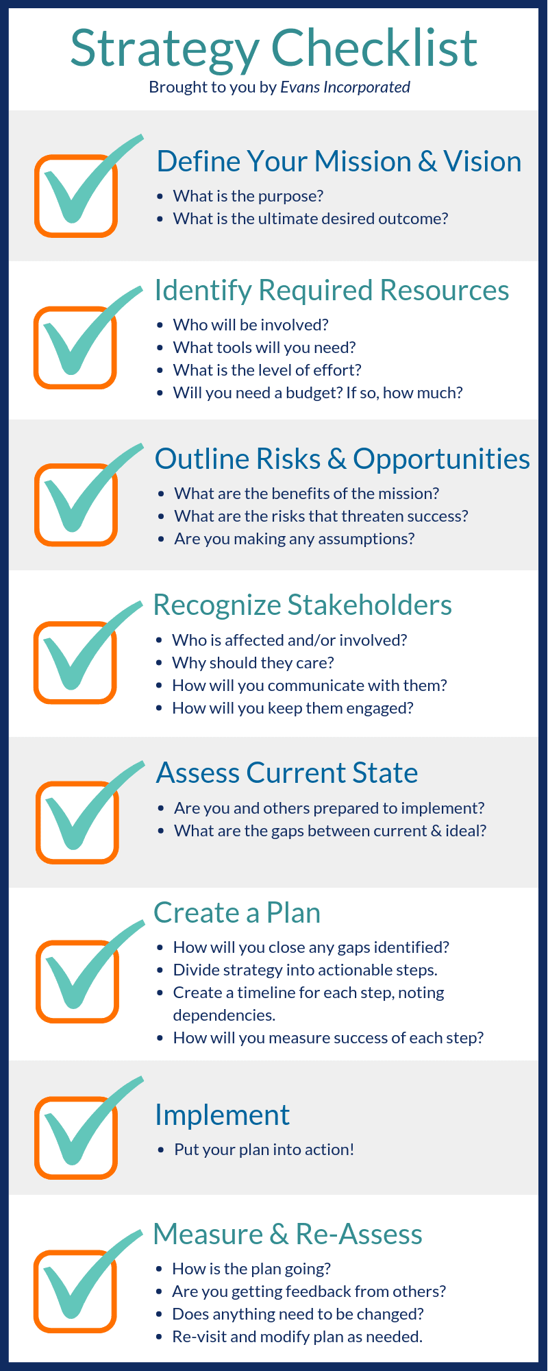 Strategy Checklist Graphic. Download the PDF below.
