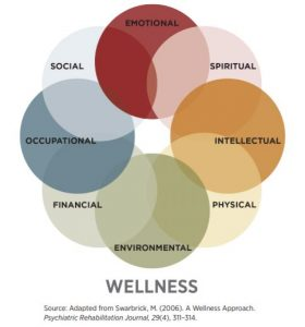 Eight Dimensions of Wellness: Emotional Spiritual Intellectual Physical Environmental Financial Occupational Social